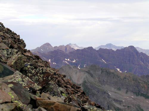 4 Elk Range 14ers from Castle Peak