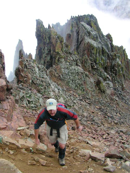 Escaping the steam below the pinnacles of Mount Sneffel's South Ridge