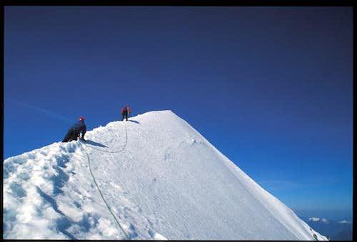 Heading up the summit ridge...