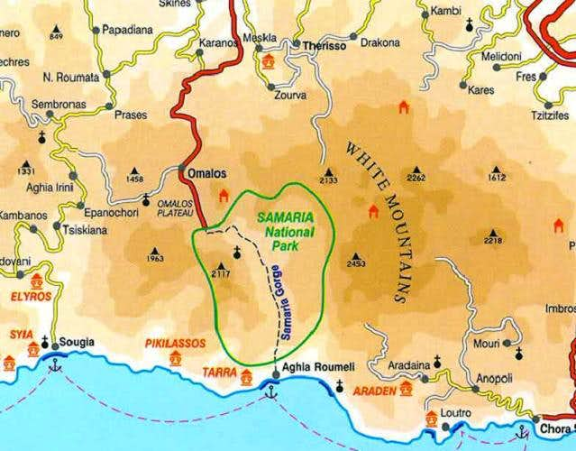 Map of the Samaria Gorge