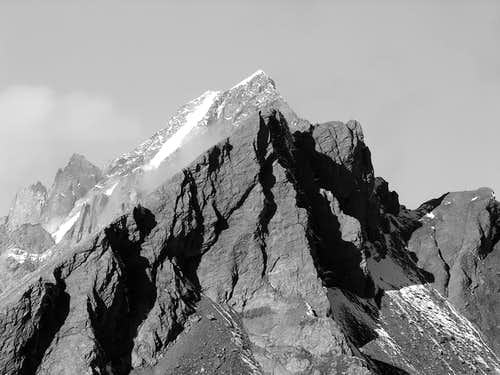 Les Grandes Jorasses <i>4208m</i> from Testa Serena <br> in the background of Aiguille de Bonalè <i>3201m</i>