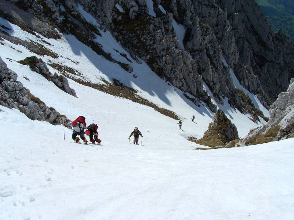Climbers on Calinet Valley in spring