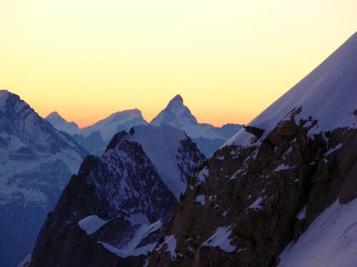 Matterhorn + Grandes Jorasses: View from Mont Maudit
