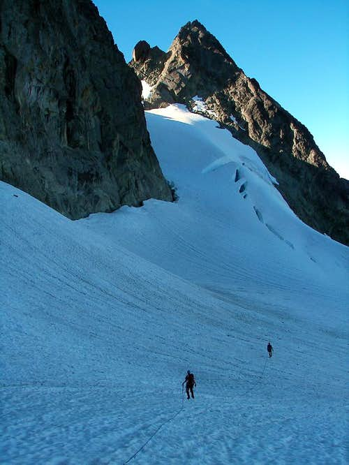 Crossing the Upper Curtis Glacier