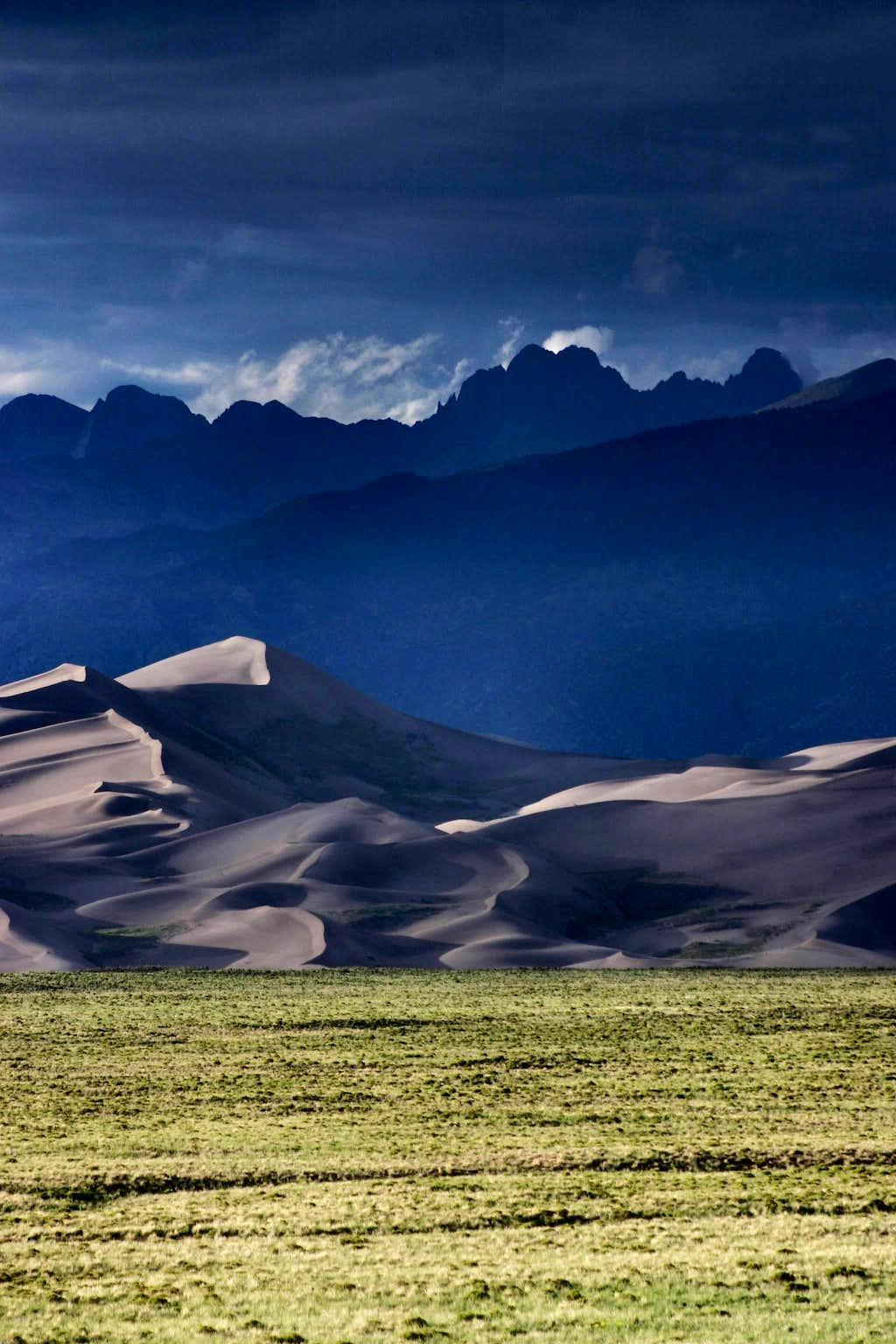 Dunes Sunset with Crestone Peaks