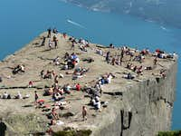 Preikestolen on a hot summer day