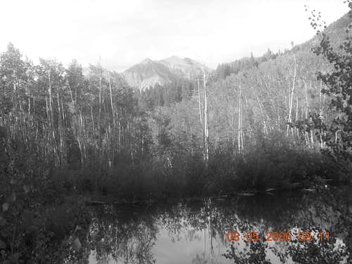 Elbert Black and White from Nearby Pond
