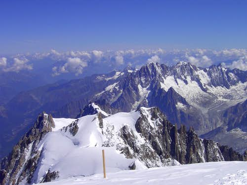 View to Mont Maudit and Mont Blanc du Tacul