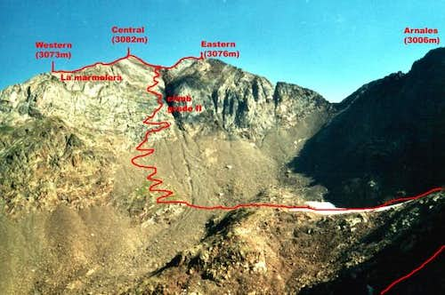 Sketch of route from Col of...