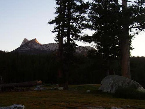 Cathedral Peak catches the last sunlight