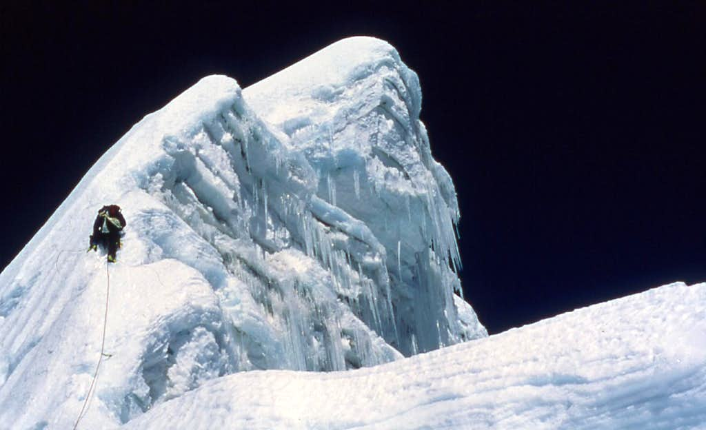 Two pitches from the summit of Cholatse