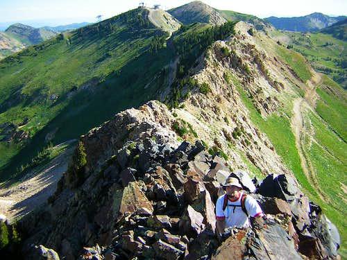 Hiking the east ridge of AF Twins