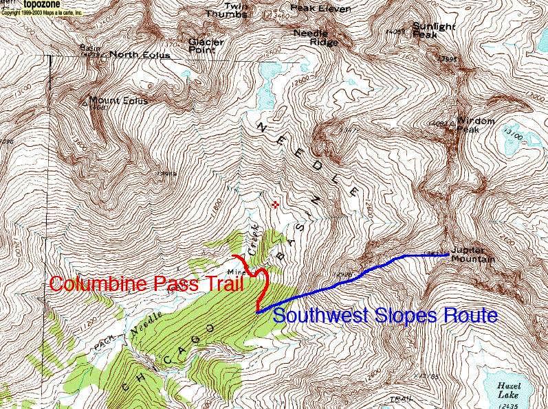Jupiter Mountain's Southwest Slopes Route