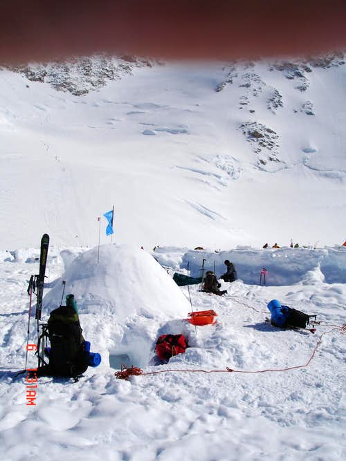 Igloo at 14,200 foot Camp on Denali