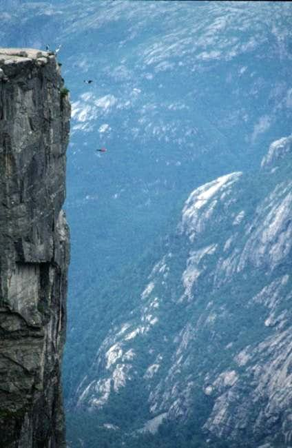 Base Jumpers doing a triple...