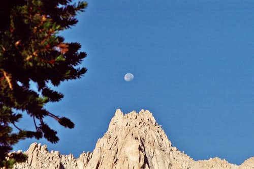 Mt. Irvine, Sierra Nevada, with a Full Moon at Dawn, Aug. 12, 2006