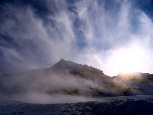 Vapor rising from Robson Glacier