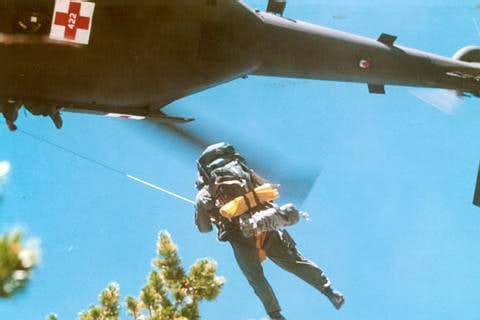 Army Paramedic Being Hoisted into Blackhawk