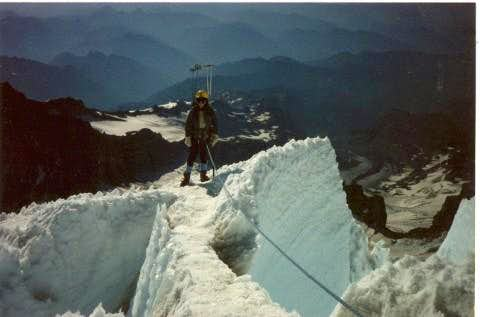 Coming down the DC route on Mt. Rainier,  August 1986