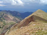 Looking east from between the twins. Northeast ridge in lower left. 7-31-06