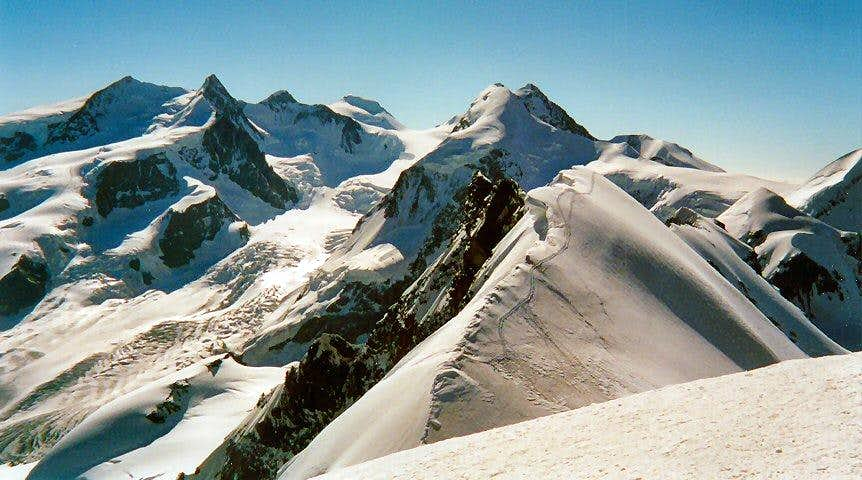 Ten some 4000m peaks can be seen looking east from the summit of Breithorn.