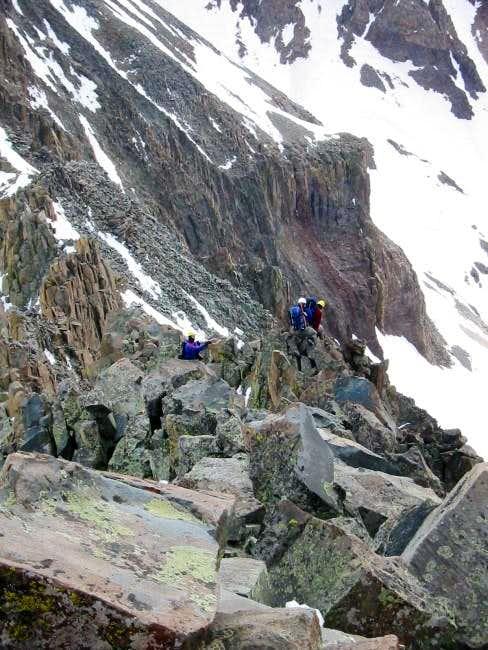 climbers descending el diente...