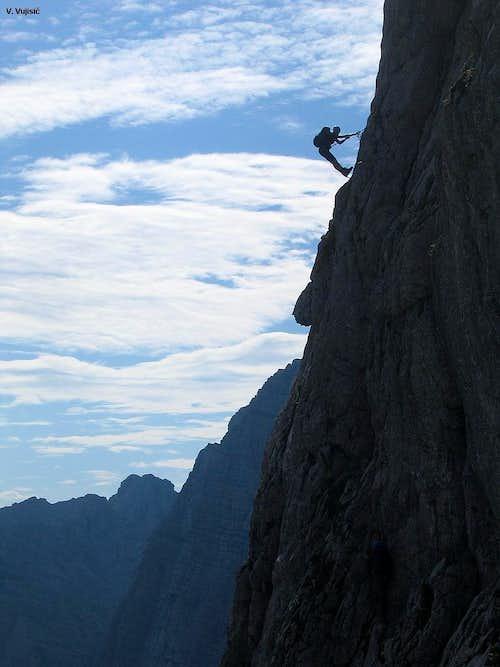 Mangart climbing