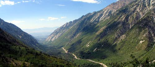 Panoramic shot of Little Cottonwood Canyon