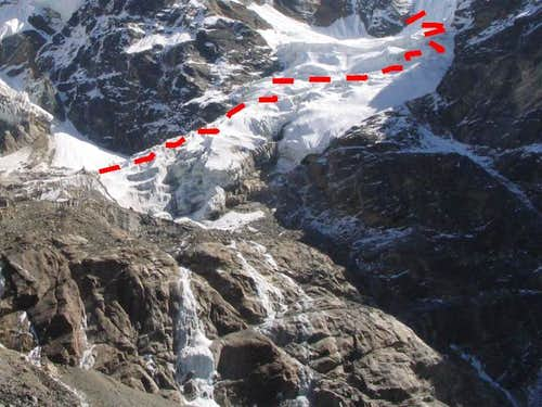 Passing through the icefall in 2004