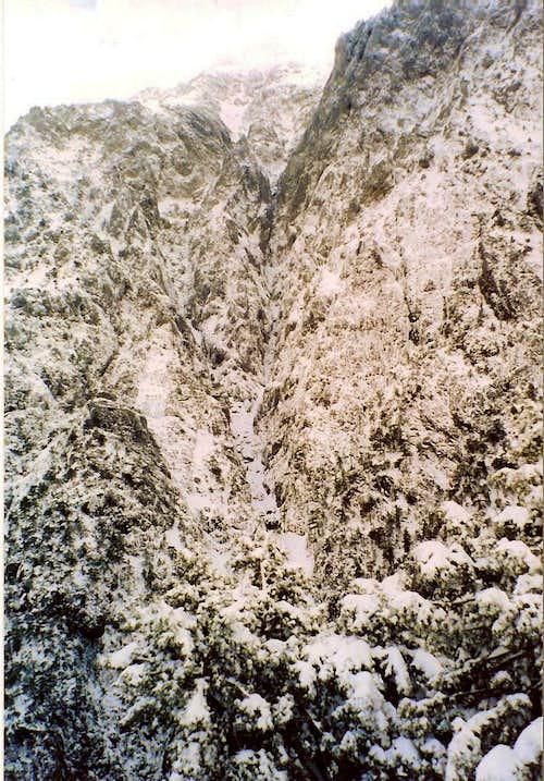 Mt Gigilos in heavy snow seen from Xiloskalo