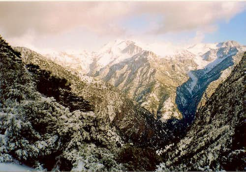 One part of Samaria gorge in the foreground.White mountains and their summit Pachnes(2453m) in the background
