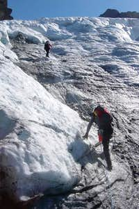 Julia & Mike Ascending Crappy Ice on the Upper Curtis Glacier