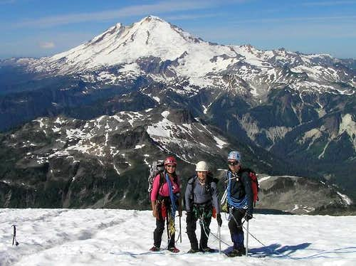 Team Slack on the Upper Curtis with Mount Baker