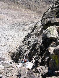 Scrambling Up The Black Rock Dike