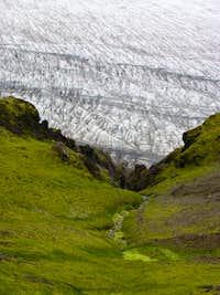Glacier under the trail