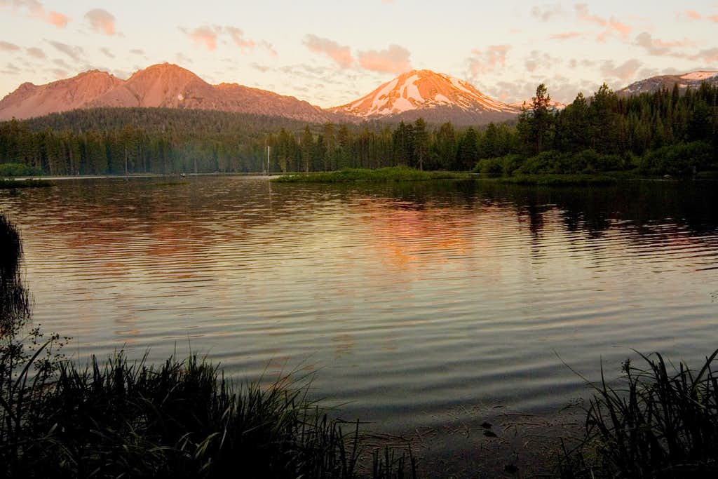 Lassen Peak from the shores of Manzanita Lake.