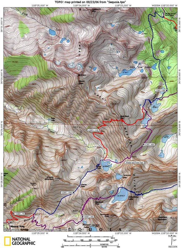 Black Kaweah approach map from Mineral King