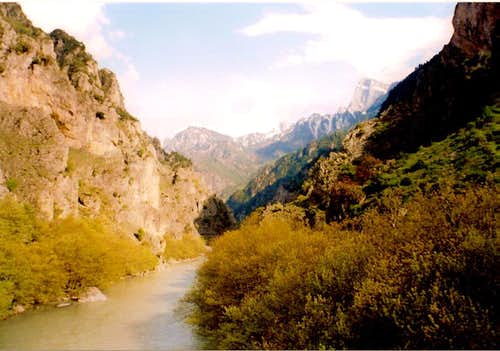 Gamila NW side seen from Aoos bridge in Konitsa.The characteristic Knife-edged summit is Gamila 1(2497m)