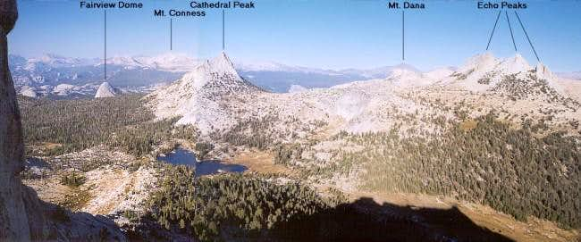 Annotated panorama of view to...
