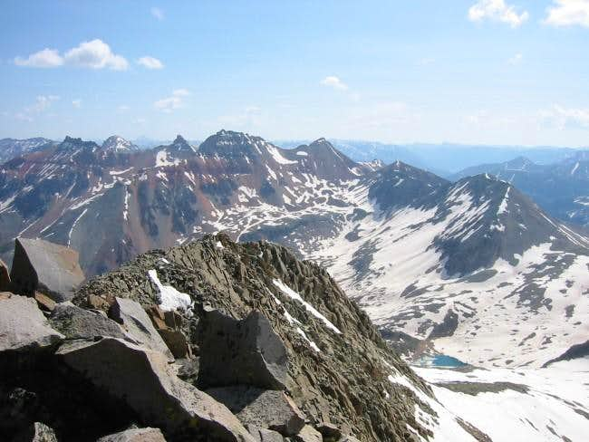 view across lower summit and...