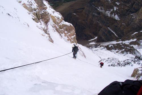 Near bottom of last rappel