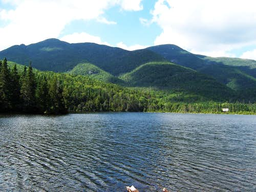 Shepard\'s Tooth, Iroquois and Algonquin Peaks from Lake Colden
