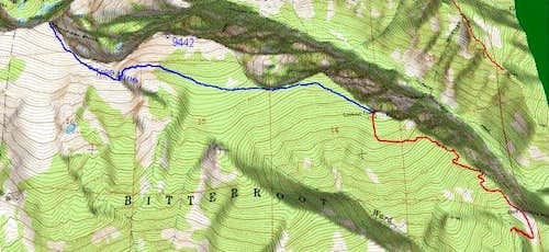 3D Topo of Boulder Peak Route