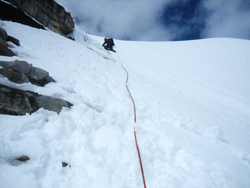 Climbing the south face of Mount Bryce