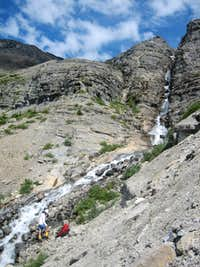 Glacier stream/waterfall crossing