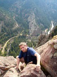 Topping out at Eldorado Canyon's Tower 2