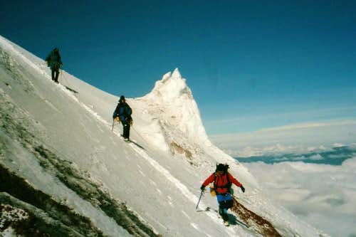 Descending Cotopaxi near bottom of glacier
