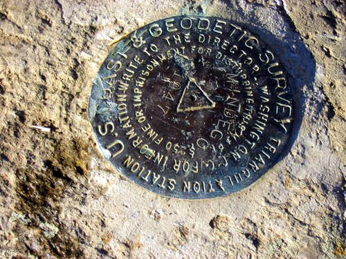 USGS marker on Borel Hill