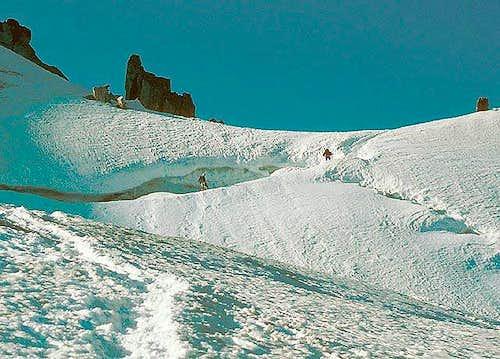 Tackling the bergschrund.