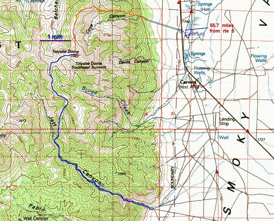 100k topo map of two routes